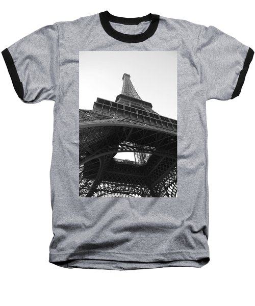 Eiffel Tower B/w Baseball T-Shirt by Jennifer Ancker