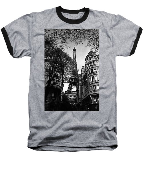 Eiffel Tower Black And White Baseball T-Shirt