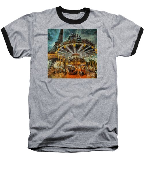 Baseball T-Shirt featuring the painting Eiffel Tower Carousel by Dragica  Micki Fortuna