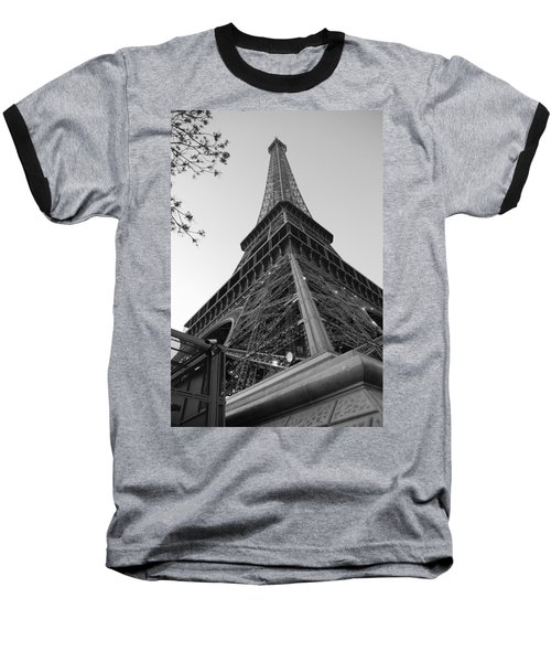 Baseball T-Shirt featuring the photograph Eiffel Tower In Black And White by Jennifer Ancker