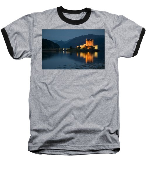 Eilean Donan Castle At Night Baseball T-Shirt by Jeremy Voisey