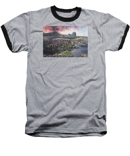 Baseball T-Shirt featuring the painting Eilean Donan Castle Scotland by Jean Walker