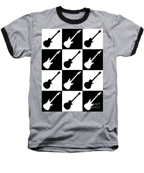 Electric Guitar Checkerboard Baseball T-Shirt