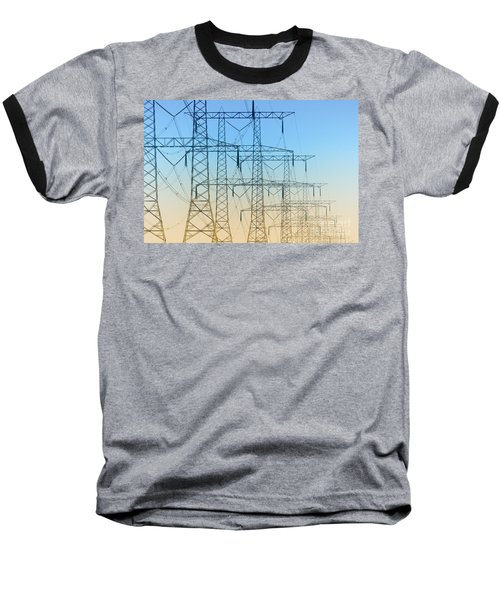 Electricity Pylons Standing In A Row Baseball T-Shirt