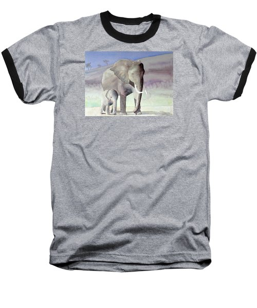 Elephant Family Baseball T-Shirt by Laurel Best