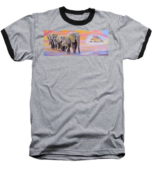 Baseball T-Shirt featuring the painting Elephant Fantasy Must Open by Phyllis Kaltenbach