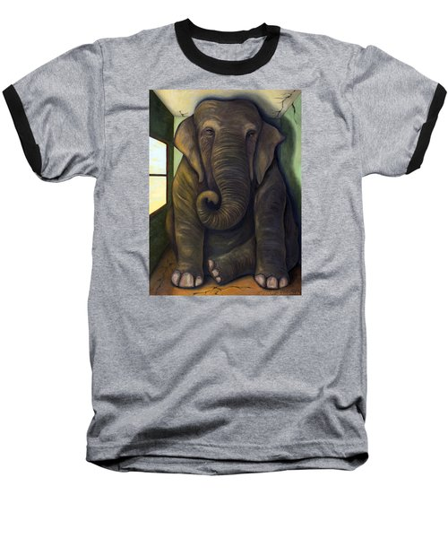 Elephant In The Room Baseball T-Shirt by Leah Saulnier The Painting Maniac