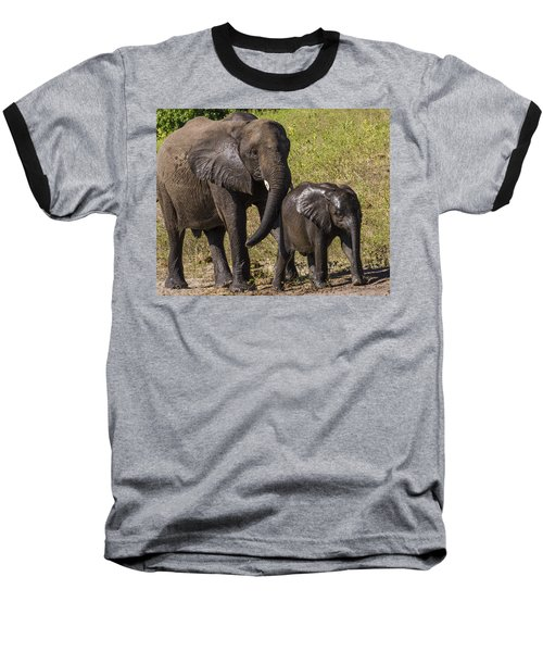 Elephant Mom And Baby Baseball T-Shirt