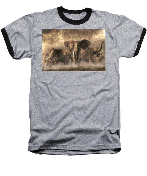 Elephant Stampede Baseball T-Shirt