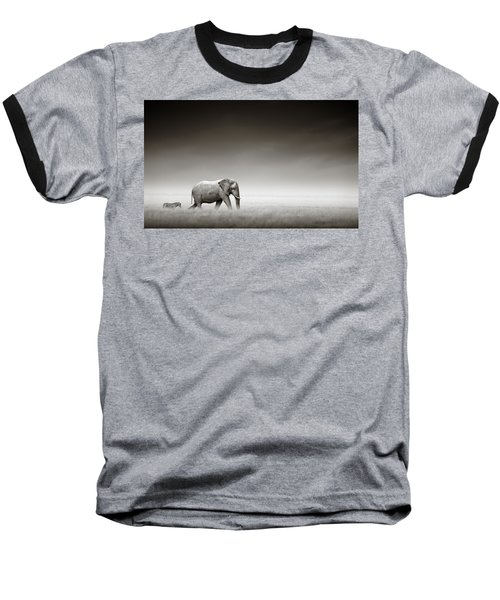 Elephant With Zebra Baseball T-Shirt by Johan Swanepoel