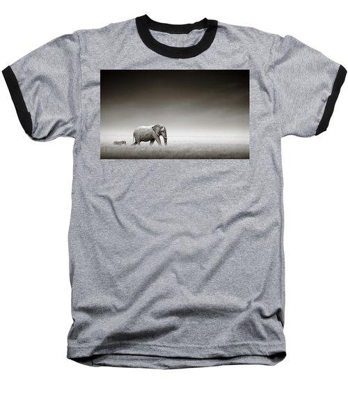 Elephant With Zebra Baseball T-Shirt