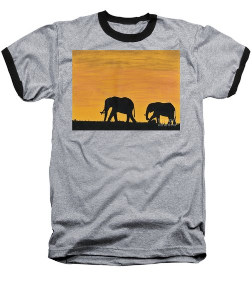 Elephants - At - Sunset Baseball T-Shirt