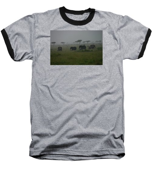 Elephants In Heavy Rain Baseball T-Shirt by Menachem Ganon