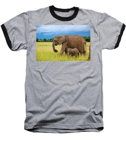 Elephants In Masai Mara Baseball T-Shirt
