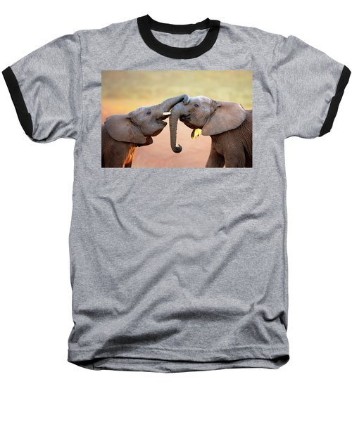 Elephants Touching Each Other Baseball T-Shirt by Johan Swanepoel