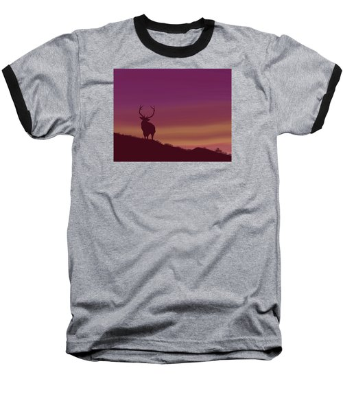 Elk At Dusk Baseball T-Shirt by Terry Frederick