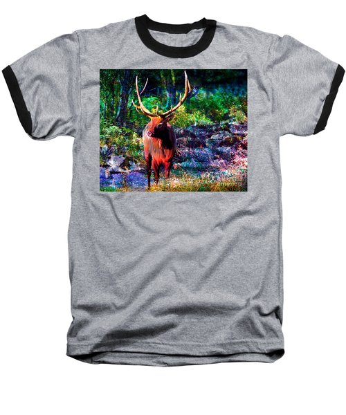 Baseball T-Shirt featuring the painting Elk In The Wilderness by Annie Zeno