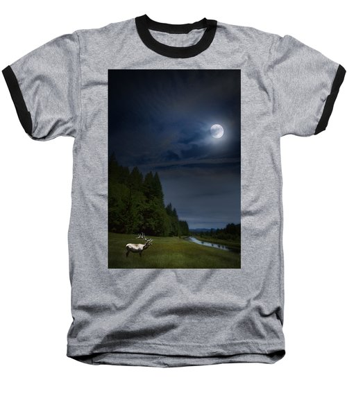 Elk Under A Full Moon Baseball T-Shirt