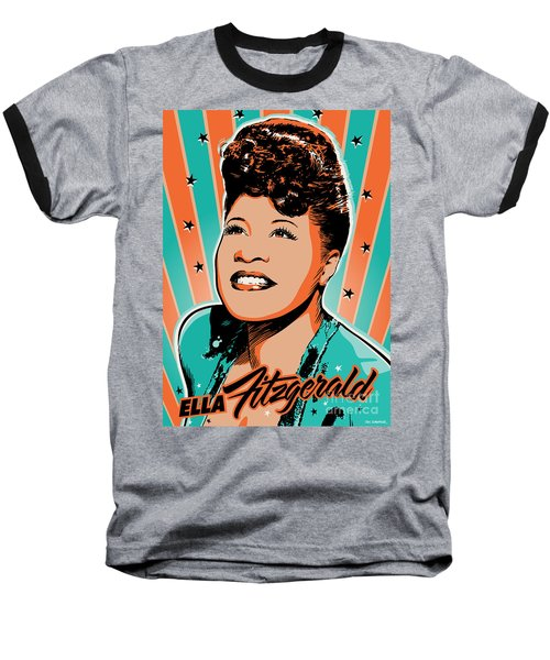 Ella Fitzgerald Pop Art Baseball T-Shirt by Jim Zahniser