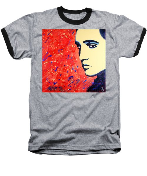 Baseball T-Shirt featuring the painting Elvis Presley - Red Blue Drip by Bob Baker