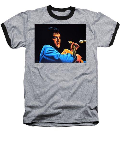 Elvis Presley 2 Painting Baseball T-Shirt by Paul Meijering