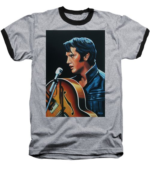 Elvis Presley 3 Painting Baseball T-Shirt by Paul Meijering