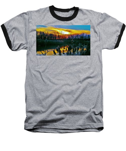 Baseball T-Shirt featuring the photograph Emagin Sunset by Daniel Thompson
