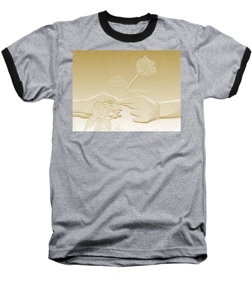 Embossed Gold Rose By Jan Marvin Studios Baseball T-Shirt