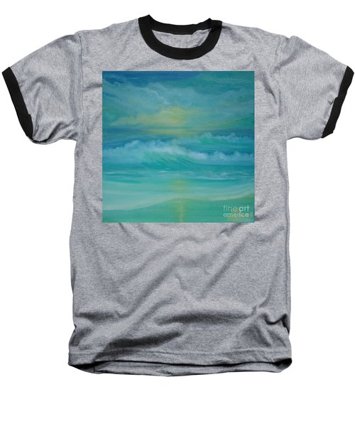 Baseball T-Shirt featuring the painting Emerald Waves by Holly Martinson