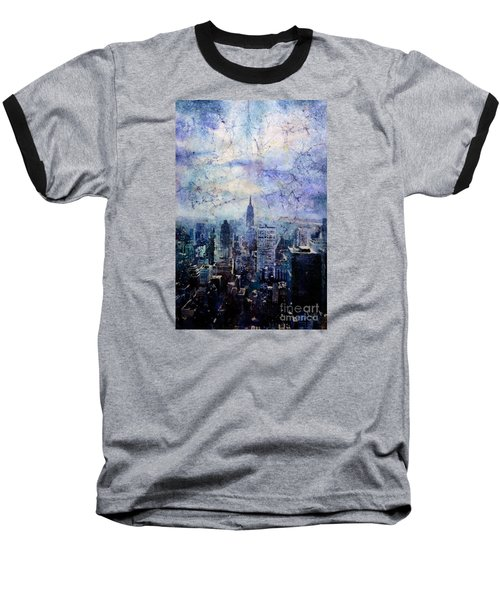 Empire State Building In Blue Baseball T-Shirt