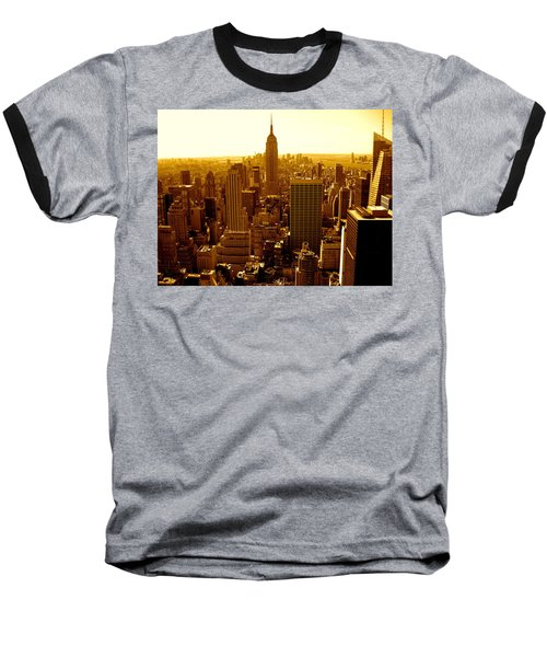 Manhattan And Empire State Building Baseball T-Shirt