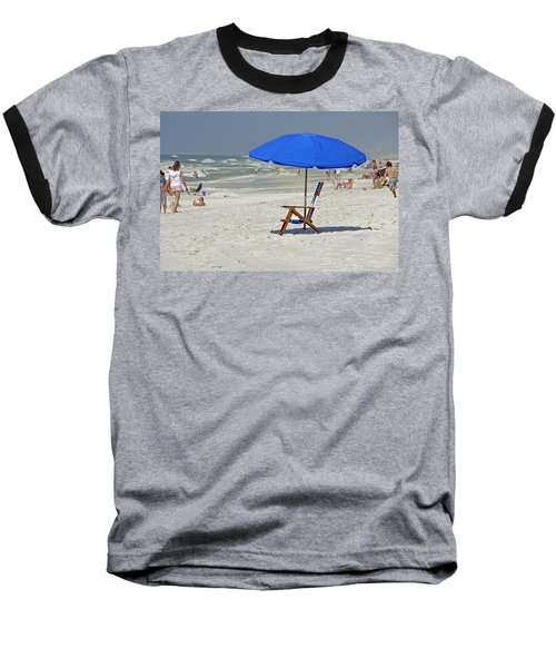 Baseball T-Shirt featuring the photograph Empty Beach Chair by Charles Beeler