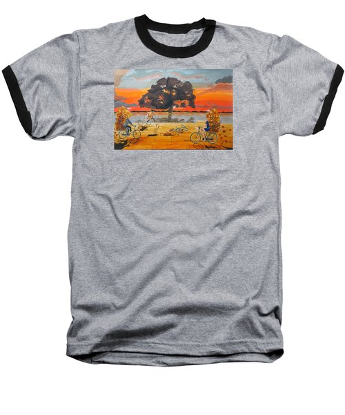 Baseball T-Shirt featuring the painting End Of Season Habits Listen With Music Of The Description Box by Lazaro Hurtado