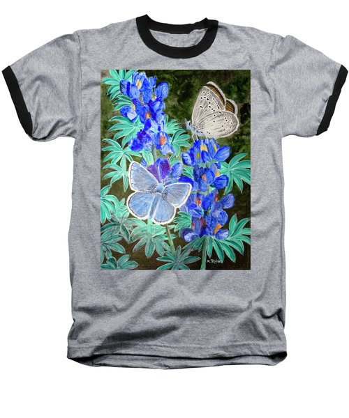 Endangered Mission Blue Butterfly Baseball T-Shirt by Mike Robles
