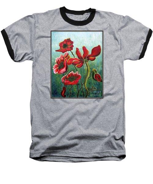 Endless Poppy Love Baseball T-Shirt by Jolanta Anna Karolska