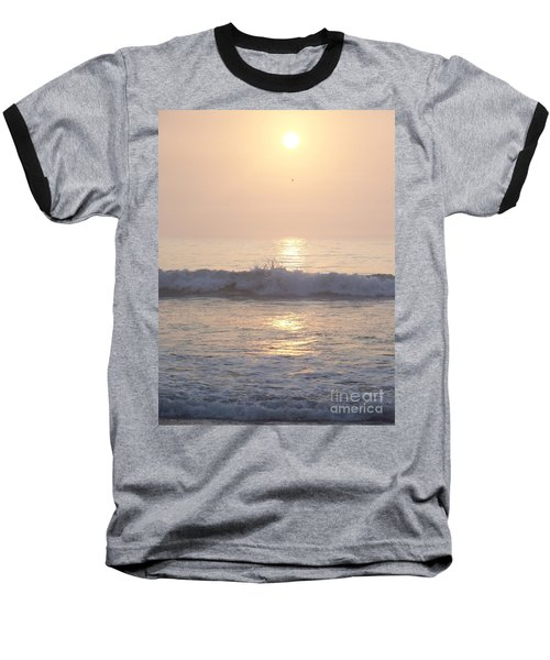 Hampton Beach Wave Ends With A Splash Baseball T-Shirt by Eunice Miller