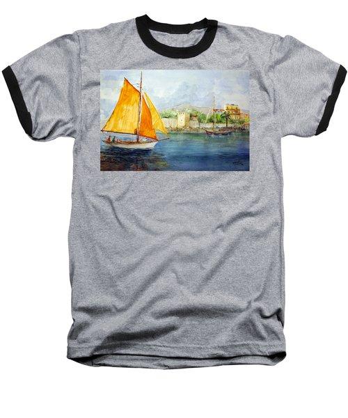 Entering The Port - Foca Izmir Baseball T-Shirt by Faruk Koksal