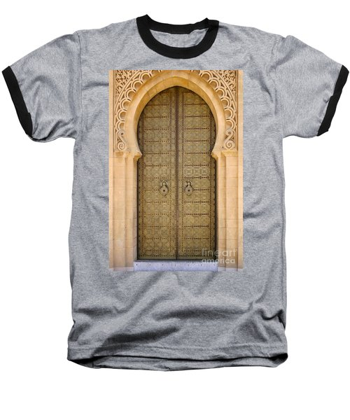 Baseball T-Shirt featuring the photograph Entrance Door To The Mausoleum Mohammed V Rabat Morocco by Ralph A  Ledergerber-Photography