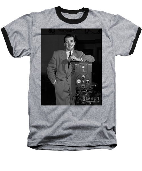 Baseball T-Shirt featuring the photograph Ernie Kovacs 1957 by Martin Konopacki Restoration