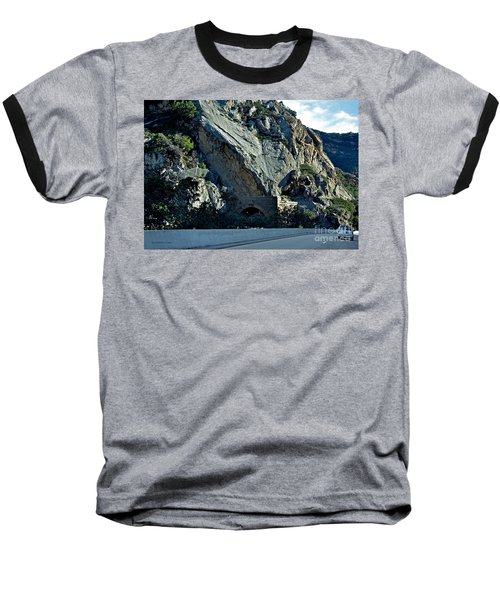 Baseball T-Shirt featuring the photograph Eroding Hillside And Tunnel by Susan Wiedmann