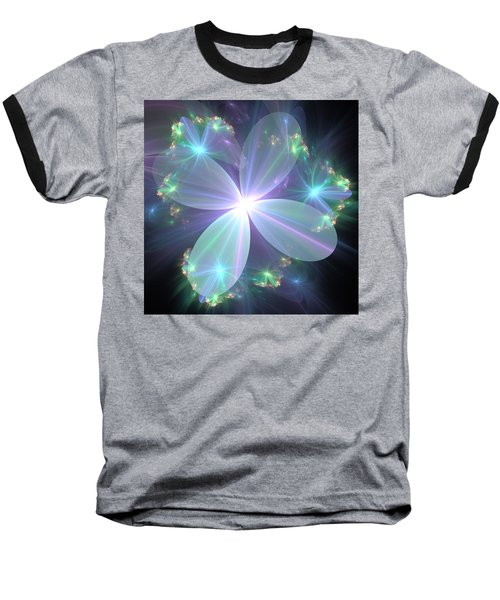 Baseball T-Shirt featuring the digital art Ethereal Flower In Blue by Svetlana Nikolova