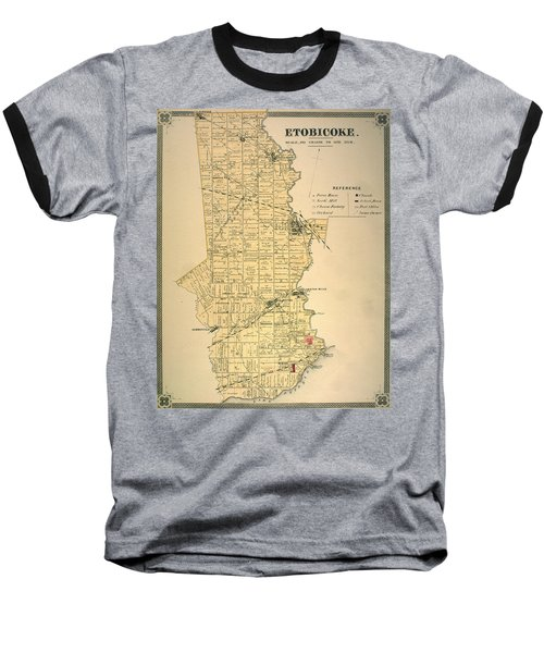 Etobicoke Map 1878 Baseball T-Shirt