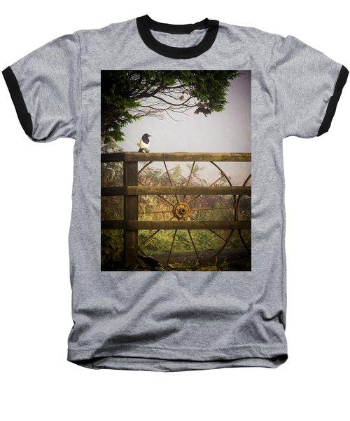 Eurasian Magpie In Morning Mist Baseball T-Shirt