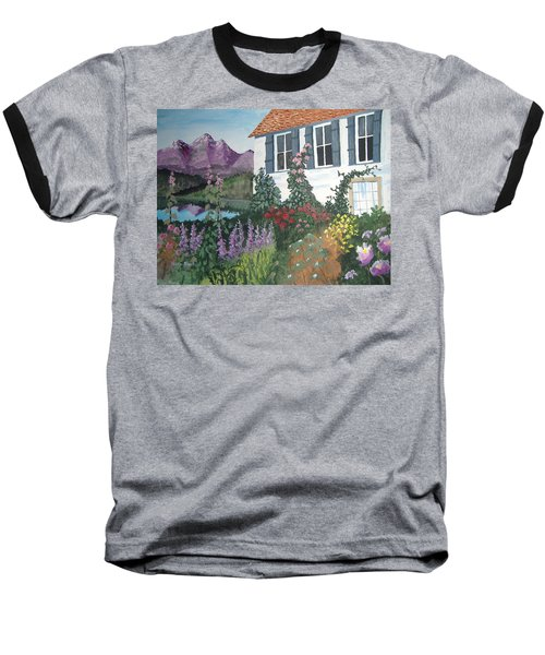 Baseball T-Shirt featuring the painting European Flower Garden by Norm Starks