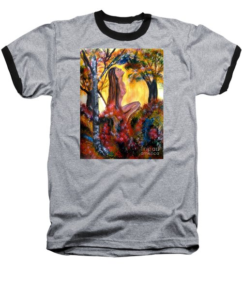 Baseball T-Shirt featuring the painting Eve In The Garden by Lori  Lovetere