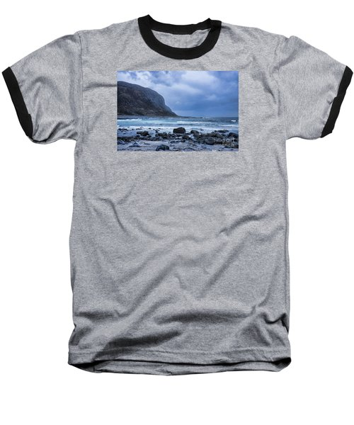 Evening At The Seaside In Rain Baseball T-Shirt