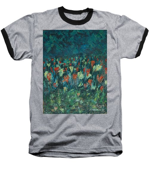 Baseball T-Shirt featuring the painting Evening Buds by Mini Arora