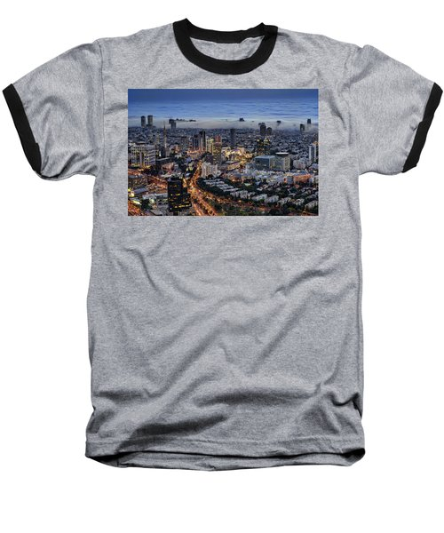 Baseball T-Shirt featuring the photograph Evening City Lights by Ron Shoshani