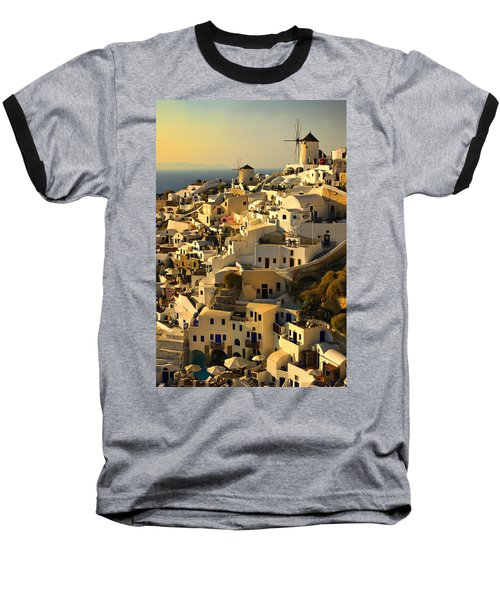 Baseball T-Shirt featuring the photograph evening in Oia by Meirion Matthias