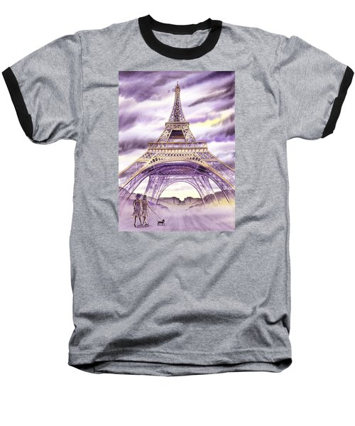 Evening In Paris A Walk To The Eiffel Tower Baseball T-Shirt